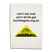 Can't eat coal and Lock the Gate triangle Tea Towl